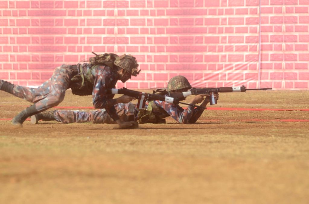 Soldiers demonstrate their skills during the NCC Day celebrations in Mumbai, on Feb 7, 2019.
