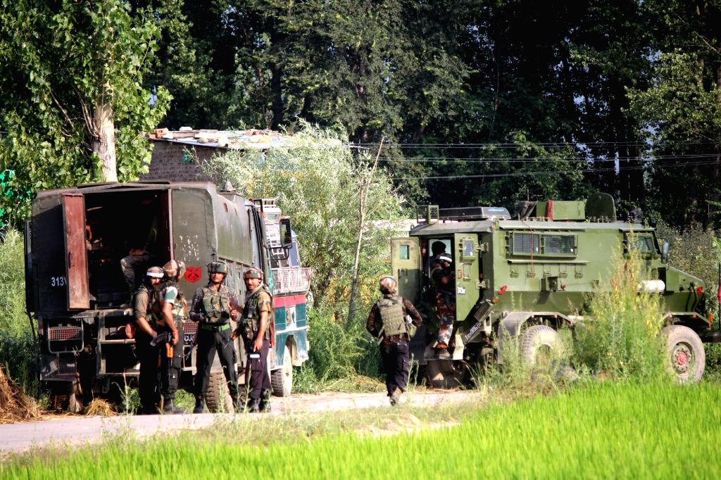Soldiers during a gunfight with security forces in Jammu and Kashmir's Pulwama district on Aug 9, 2017. Three militants were killed in the gunfight.