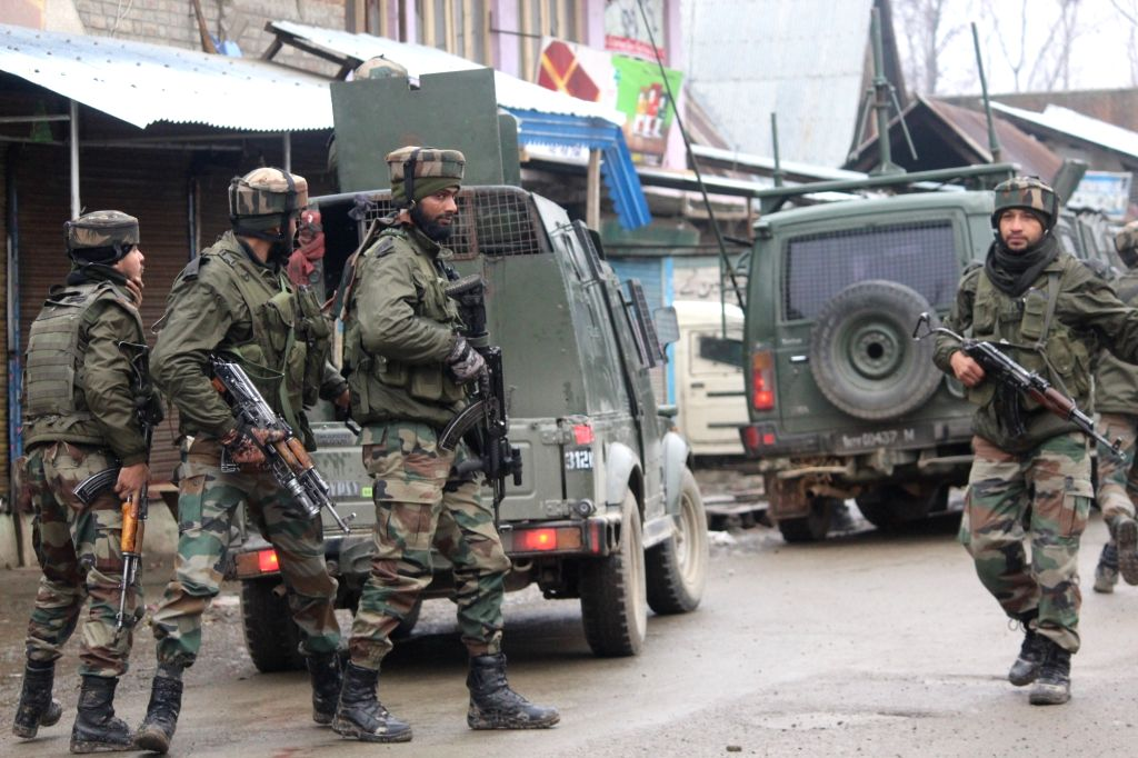 Soldiers during an encounter with militants in which two militants were killed in Jammu and Kashmir's Sopore town on Feb 22, 2019.