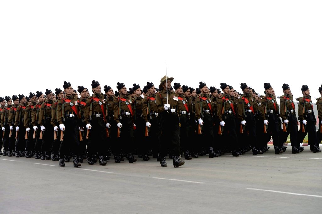 Soldiers during Army Day Parade in New Delhi, on Jan 15, 2016.