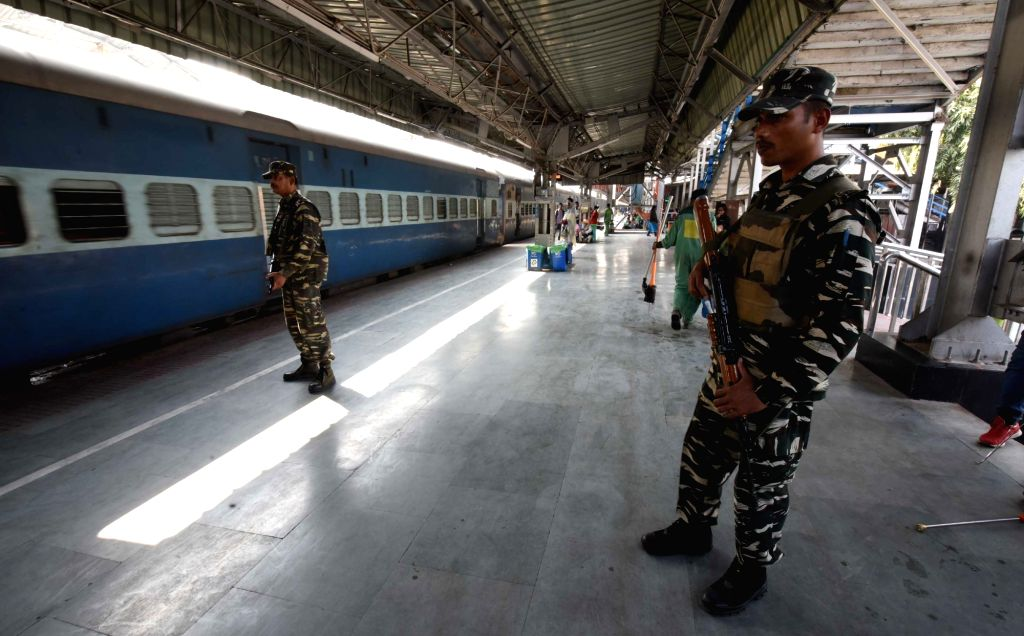 Soldiers during security checks carried out ahead of Republic day at Guwahati railway station on Jan 23, 2018.