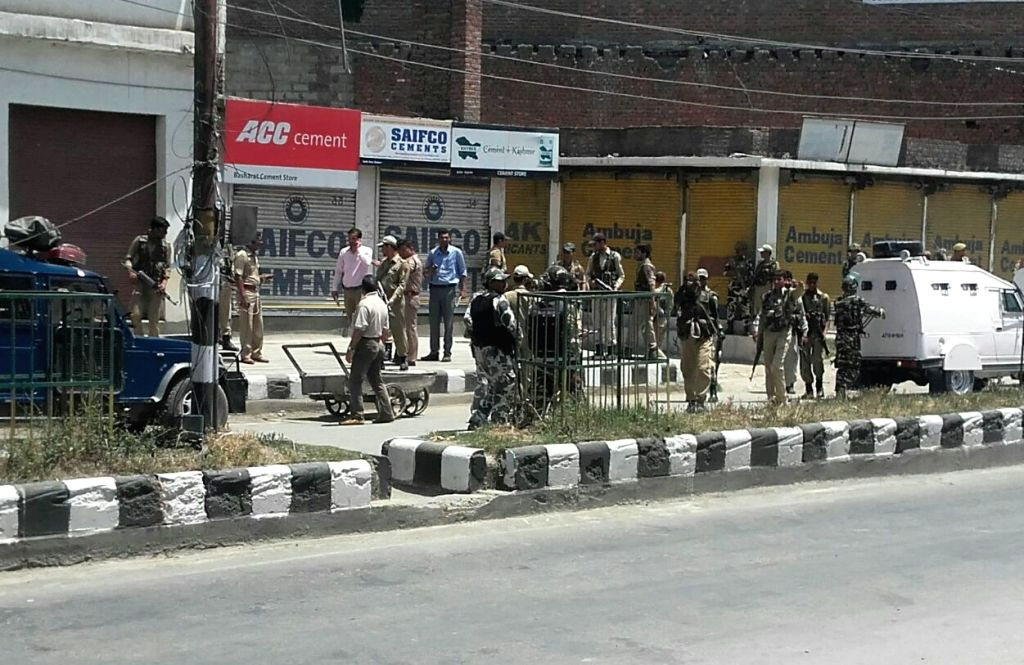 Soldiers in action during an encounter with militants in south Kashmir's Anantnag town on June 4, 2016. At least two policemen were killed and four others were injured when militants ...
