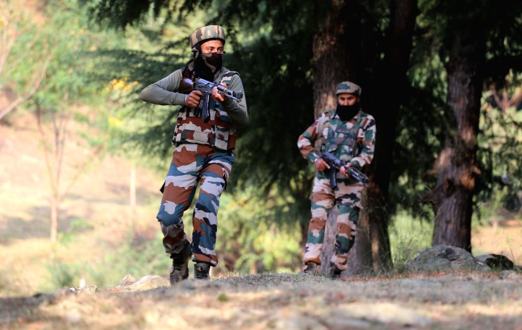 Soldiers in action during an encounter with militants in Kashmir's Kupwara district on Oct 30, 2016.
