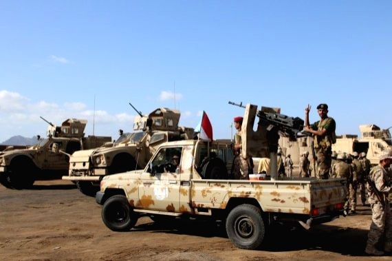 Soldiers of the Southern Transitional Council are seen on the top of their military vehicles on Dec. 13, 2020, in the Southern province of Abyan, Yemen.