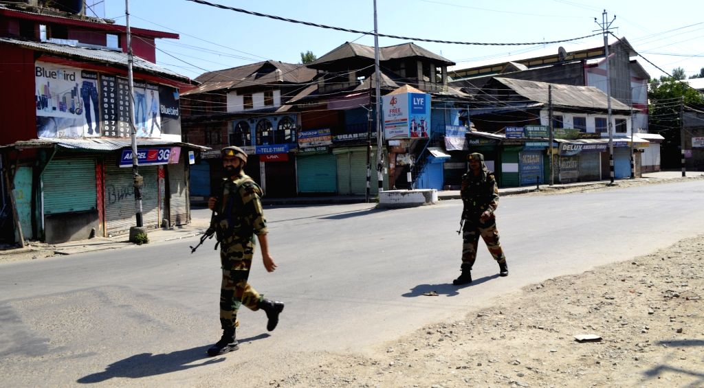 Soldiers patrol on Baramulla roads as authorities impose curfew in  Kashmir valley on Aug 5, 2016.