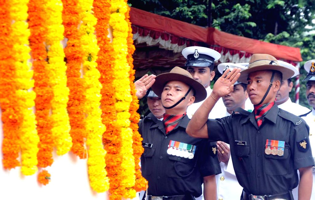 Soldiers pay tribute to martyrs during Kargil Vijay Diwas in Bengaluru, on July 26, 2015.