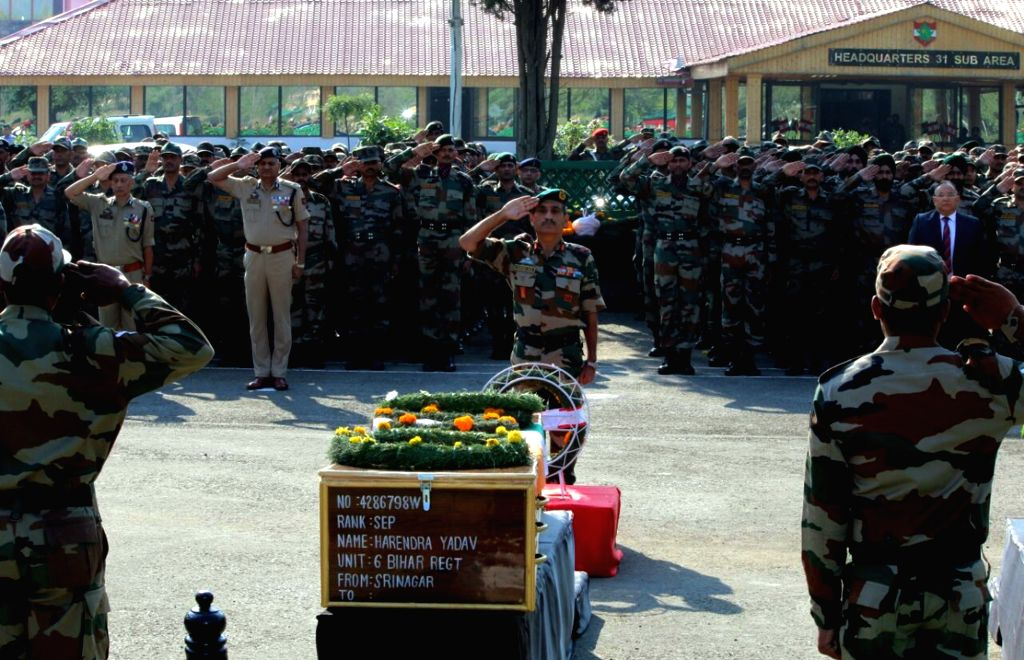 Soldiers pay tribute to the Uri martyrs in Mumbai on Sept 19, 2016.