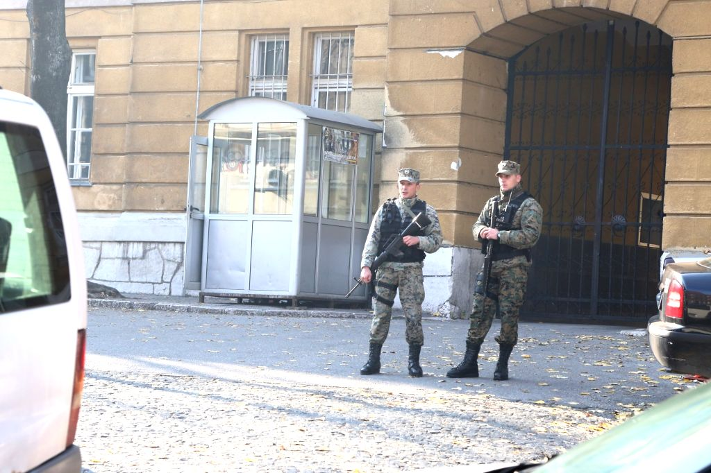 """Soldiers secure the building of defense ministry, in the Old City of Sarajevo, BiH, Nov. 19, 2015. """"Elements of terrorism"""" were found in the killing of ..."""