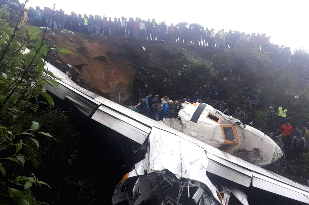 SOLUKHUMBU (NEPAL), May 28, 2017 Photo taken on May 27, 2017 shows a scene of rescue operation at the crash site of a cargo plane near Tenzing Hillary airport in Lukla near Mount ...