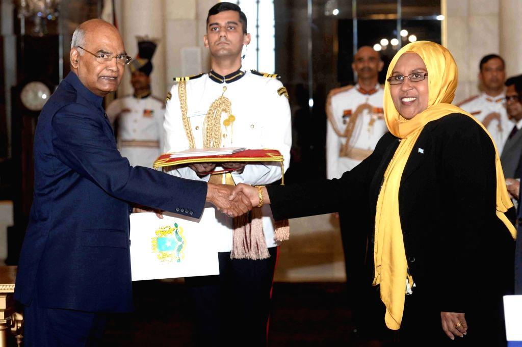 Somali Ambassador Designate H.E. Faduma Abdullahi Mohamud presents her credentials to President Ram Nath Kovind at Rashtrapati Bhavan in New Delhi on Aug 28, 2019. - Nath Kovind
