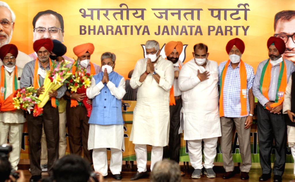 Some Eminent personalities join BJP in presence of Union Minister Gajendra Singh Shekhawat at BJP HQ, 6A DDU Marg, in New Delhi on Wednesday June 16, 2021. - Gajendra Singh Shekhawat