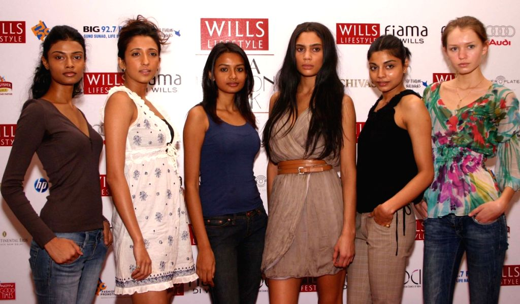 """Some of the new models for """"Wills Life Style India Fashion Week-2009"""" during a press meet in New Delhi on Saturday."""