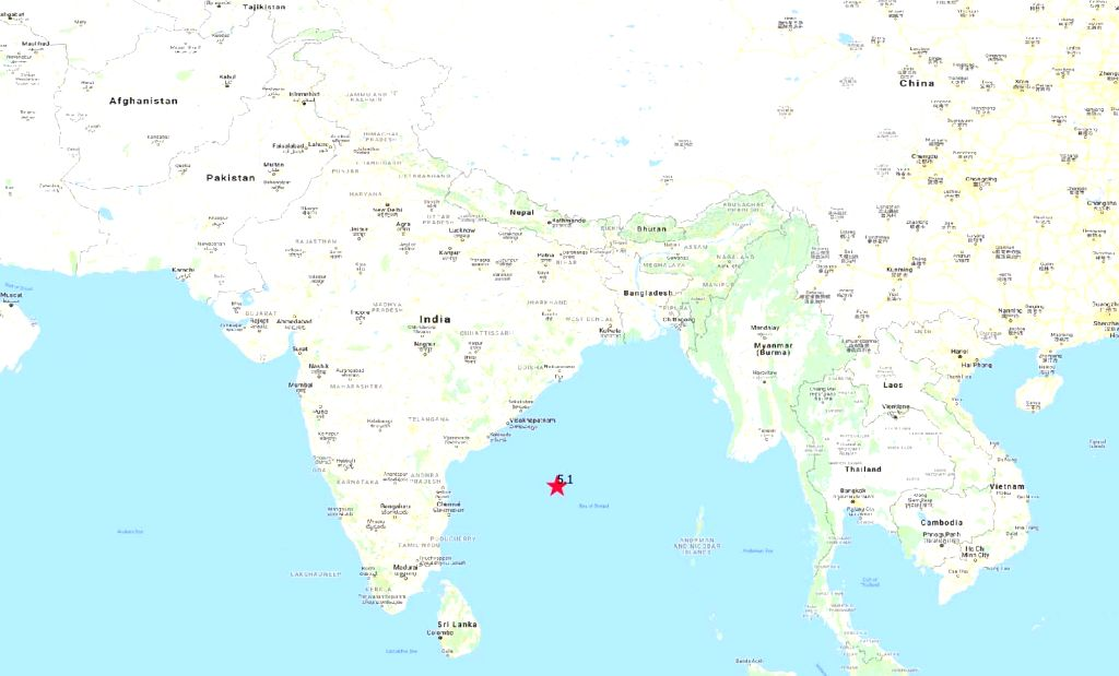 Some parts of Chennai felt mild tremors due to an earthquake measuring 5.1 on the Richter scale in the Bay of Bengal, about 600 km east-northeast of the city; on Feb 12, 2019. (Photo: IANS/IMD)