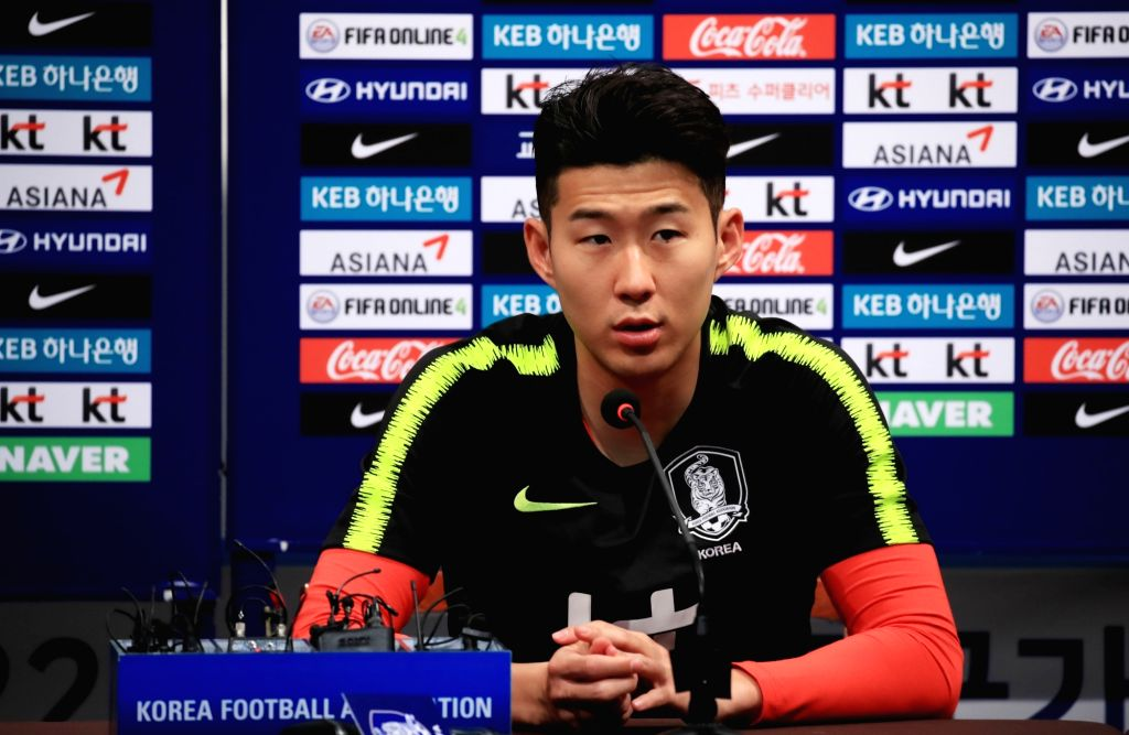 Son Heung-min of Tottenham Hotspur speaks at a news conference at the National Football Center in Paju, Gyeonggi Province, on May 23, 2018.