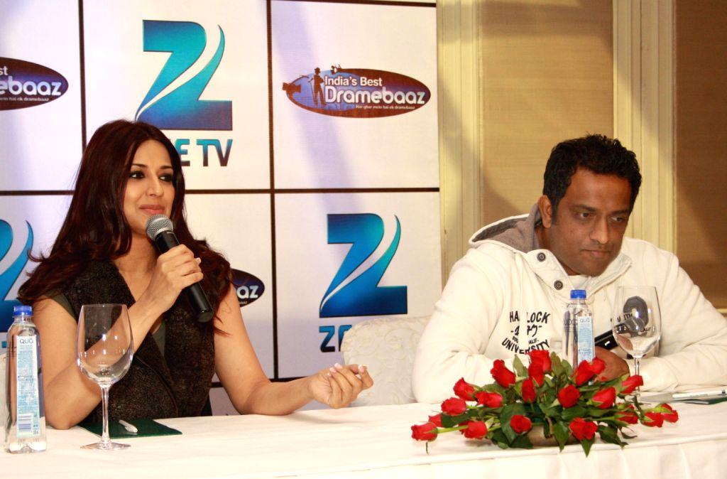 "Sonali Bendre and Anurag Basu at the press conference for Zee TV Show ""India's Best Dramebaaz"" in New Delhi. (Photo: IANS/Amlan) - Anurag Basu"