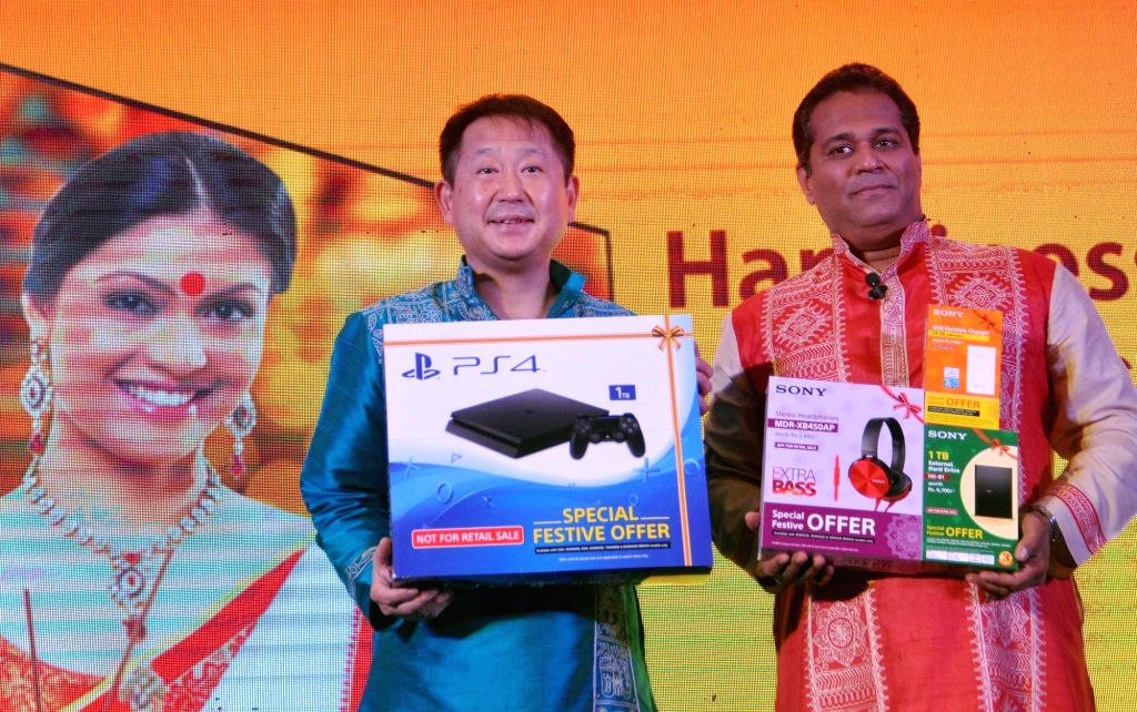 Sony India Pvt Ltd Managing Director Kenichiro Hibi and head (sales) Satish Padmanabhan during a press conference to announce SONY's sales strategy and investment plan in Kolkata on Aug 17, ...