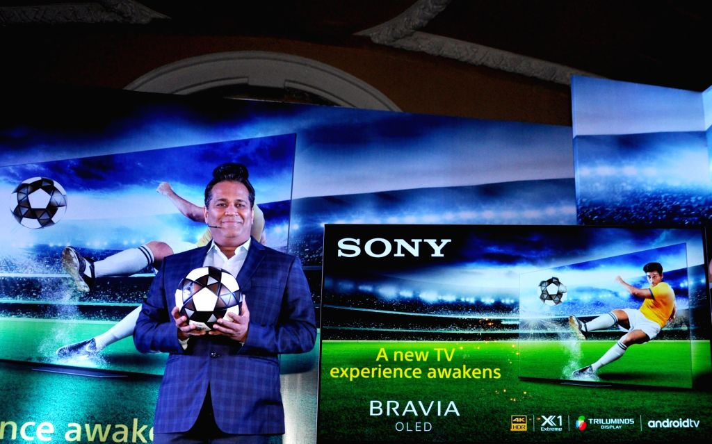 Sony India Sales Head Satish Padmanabhan during a press conference at the launch of Sony's A8F Bravia OLED TV, in Kolkata on May 24, 2018.