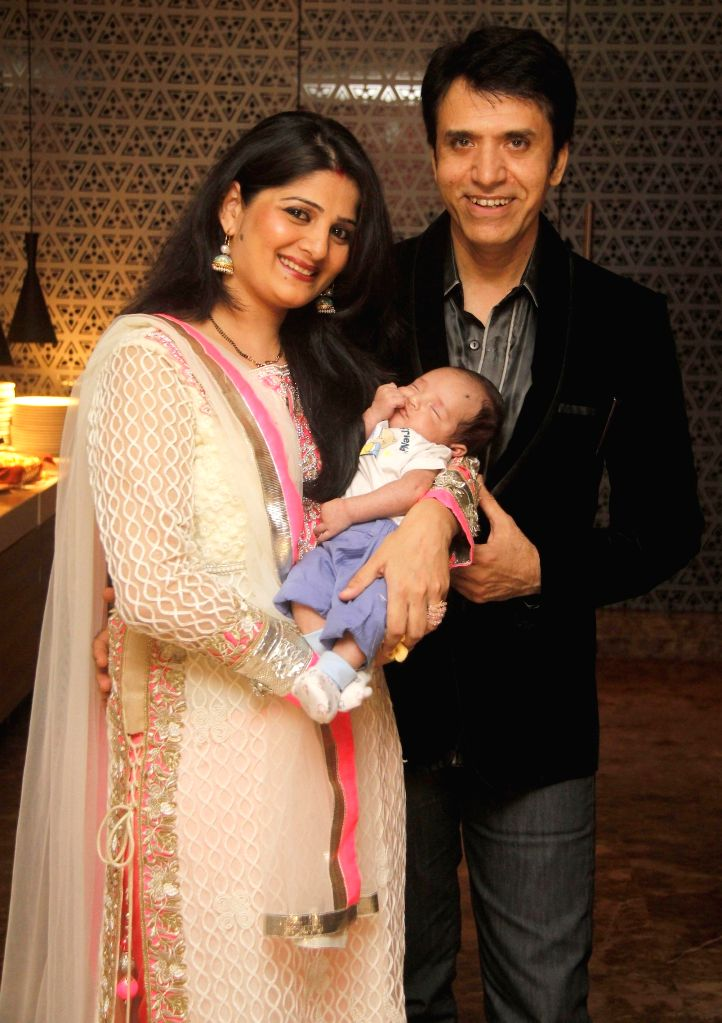 Sooraj Thapar with Wife and Son during the hosted a party by Aneel Murarka in Mumbai, on Sept. 5, 2014.