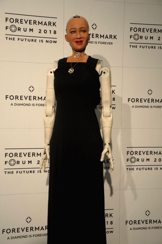 Sophia, a social humanoid robot at the 7th annual Forum of Forevermark in New Delhi, on July 9, 2018.