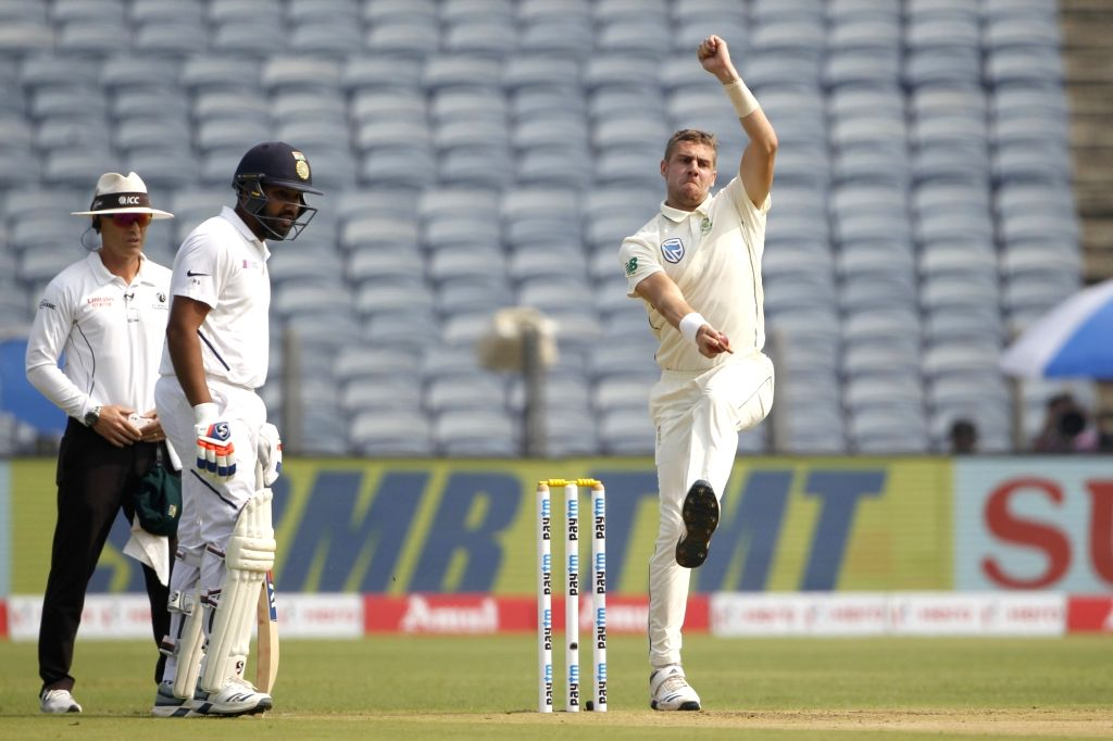 South Africa's Anrich Nortje in action on Day 1 of the second Test match between India and South Africa at Maharashtra Cricket Association Stadium in Pune, on Oct 10, 2019.