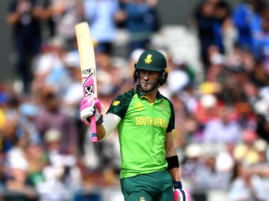 South Africa's Faf du Plessis during a World Cup 2019 match against Australia at Old Trafford in Manchester, England on July 6, 2019. (Photo Courtesy: ICC)