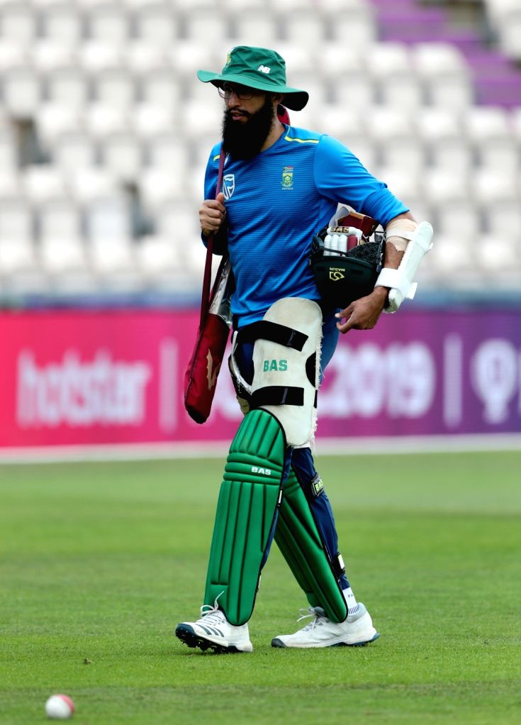 South Africa's Hashim Amla during a practice session ahead of their 2019 ICC Cricket World Cup match against India, at the Rose Bowl Cricket Ground in Hampshire, England on June 4, 2019.
