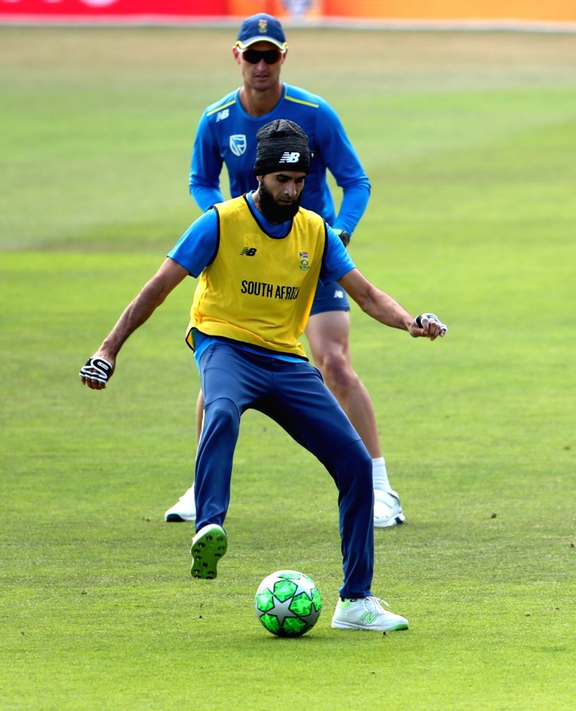 South Africa's Imran Tahir during a practice session ahead of their 2019 ICC Cricket World Cup match against India, at the Rose Bowl Cricket Ground in Hampshire, England on June 4, 2019.