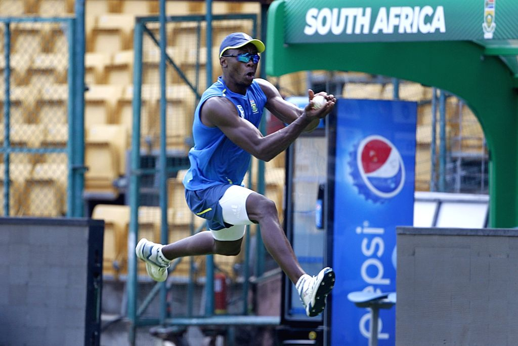 South Africa's Kagiso Rabada during a practice session ahead of their last T20I match against India, in Bengaluru on Sep 21, 2019.