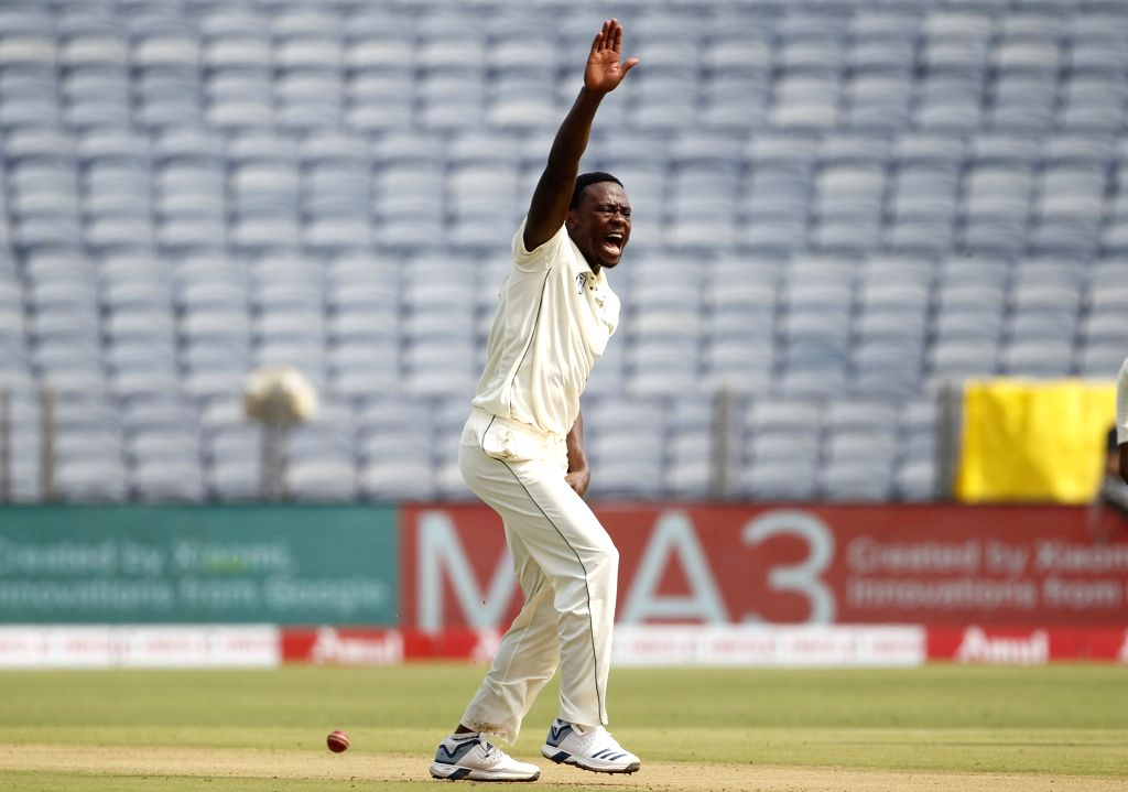 South Africa's Kagiso Rabada in action on Day 1 of the second Test match between India and South Africa at Maharashtra Cricket Association Stadium in Pune, on Oct 10, 2019.
