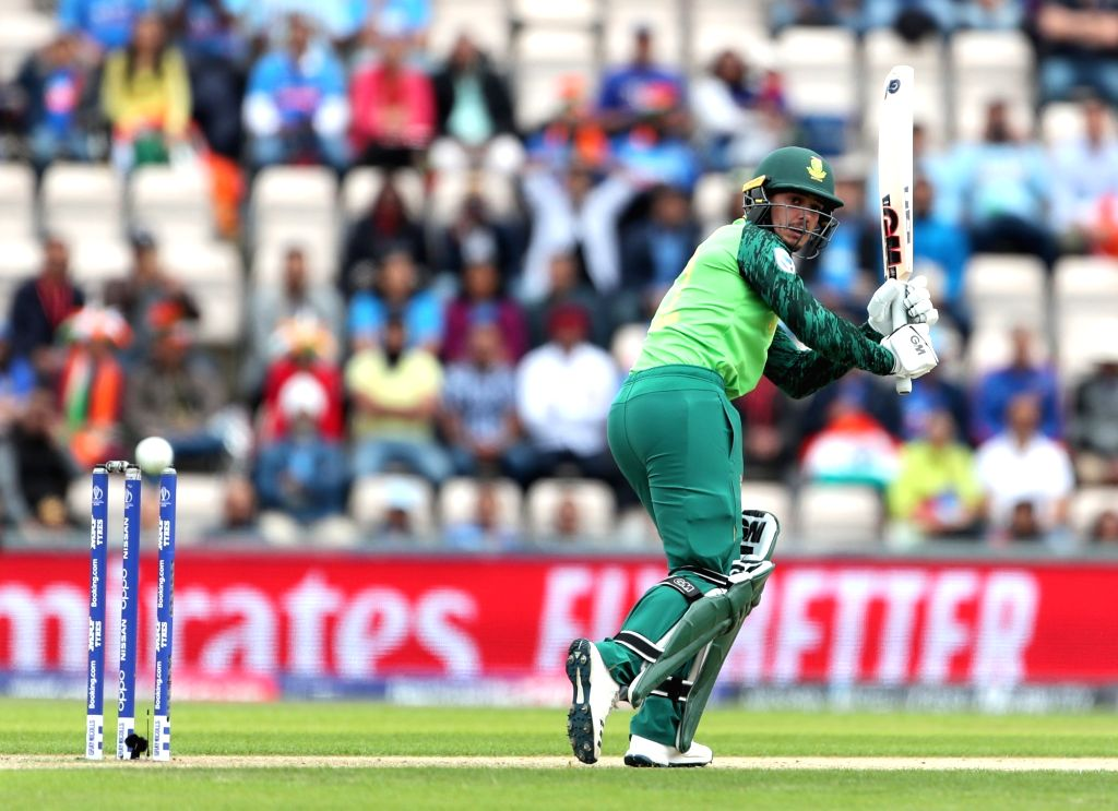 South Africa's Quinton de Kock in action during the 8th match of 2019 World Cup between India and South Africa at The Rose Bowl in Southampton, England on June 5, 2019.