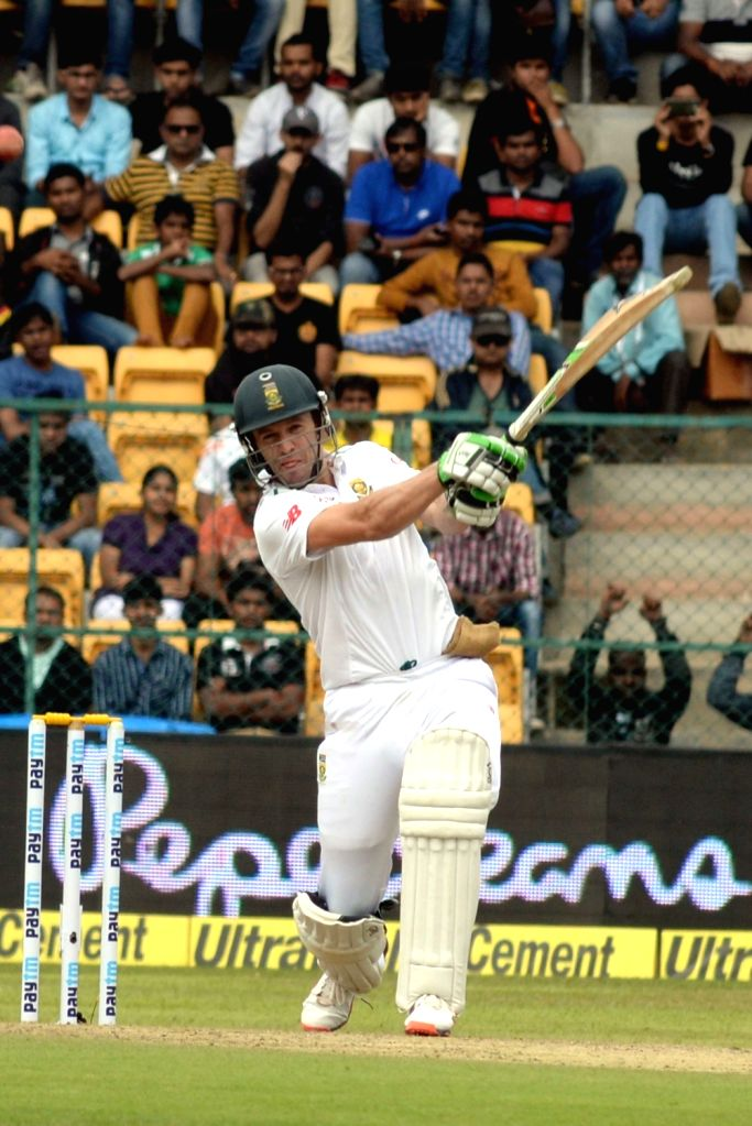 South African batsman AB de Villiers in action during the first day of the second test match between India and South Africa at M Chinnaswamy Stadium in Bengaluru, on Nov 14, 2015.