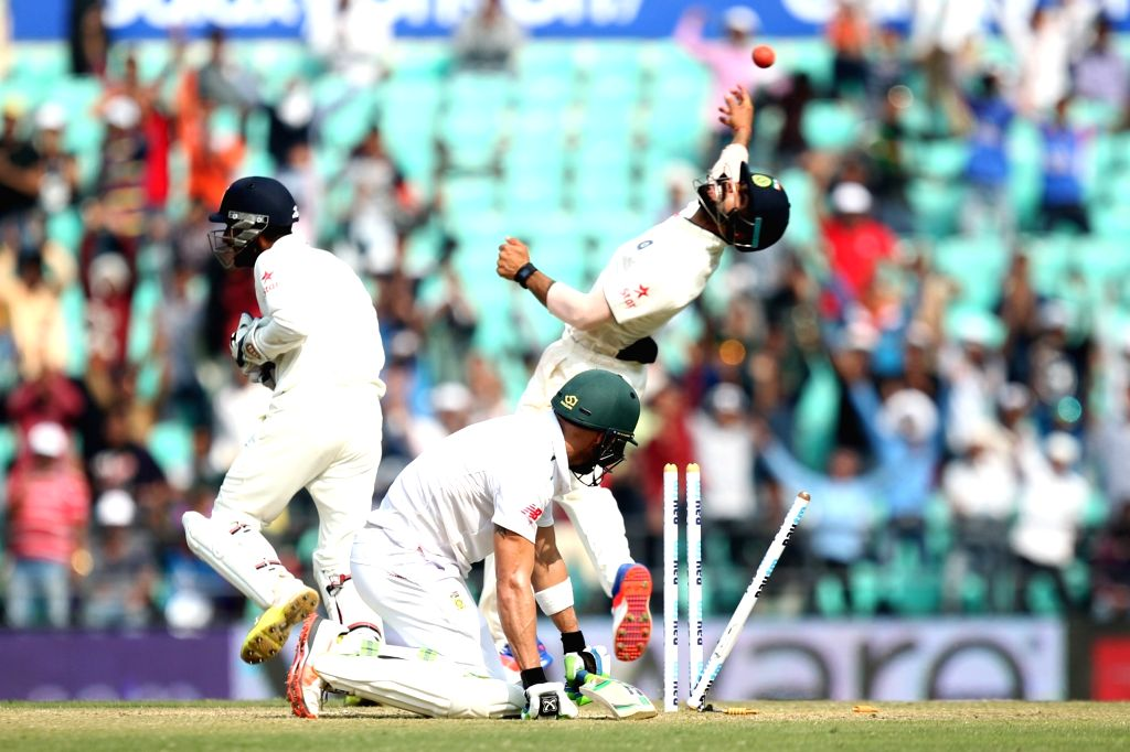 South African batsman Faf du Plessis gets dismissed during the Day-3 of the third test match between India and South Africa at Vidarbha Cricket Association Stadium in Nagpur  on Nov 27, 2015. - Faf