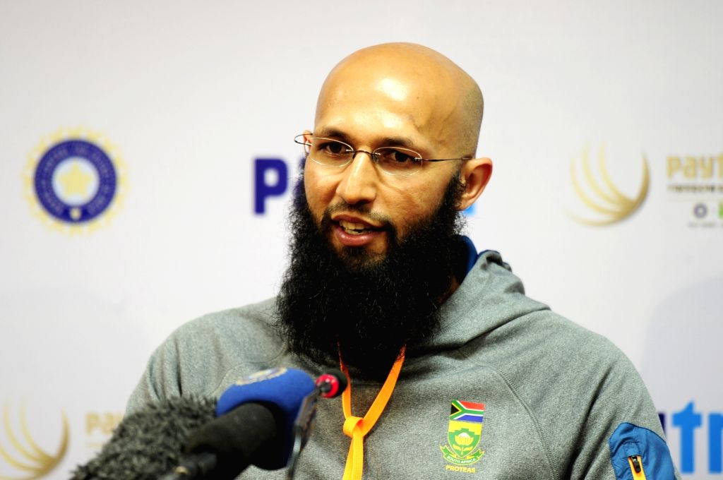 South African captain Hashim Amla addresses during a press conference at M Chinnaswamy Stadium in Bengaluru, on Nov 18, 2015.