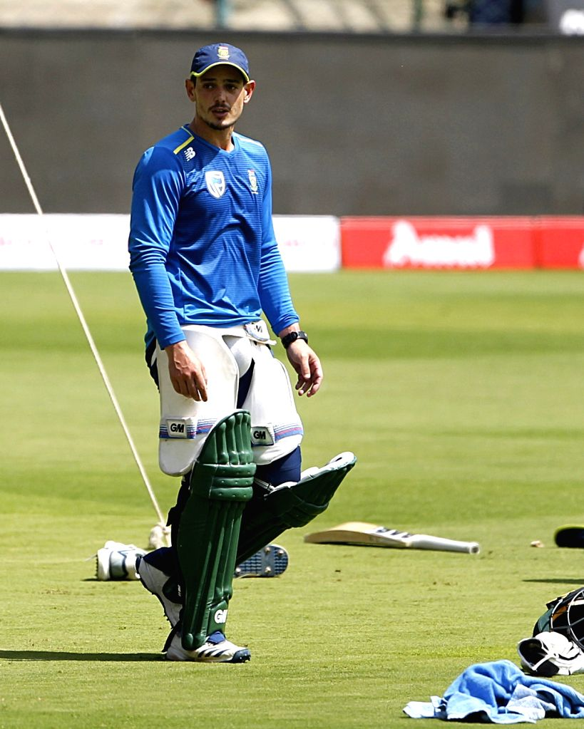 South African captain Quinton de Kock during a practice session ahead of their last T20I match against India, in Bengaluru on Sep 21, 2019. - Quinton