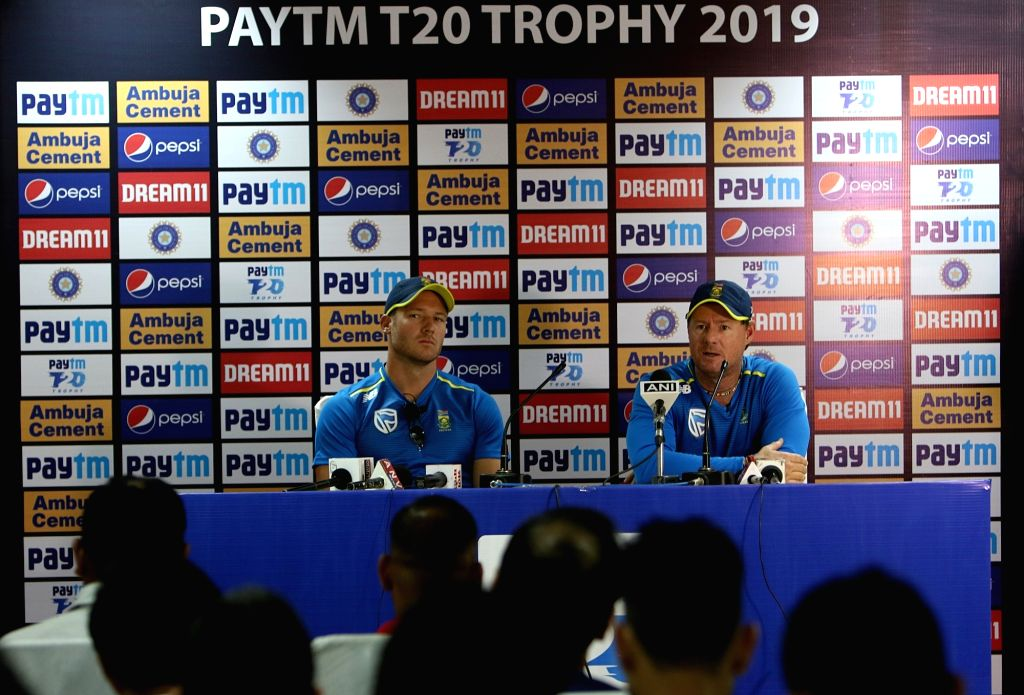 South African coach Lance Klusener accompanied by cricketer David Millar, addresses a press conference on the eve of the first T20I match against India, at Himachal Pradesh Cricket ...