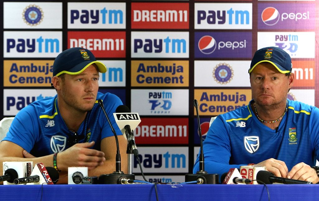 South African cricketer David Millar accompanied by coach Lance Klusener, addresses a press conference on the eve of the first T20I match against India, at Himachal Pradesh Cricket ...
