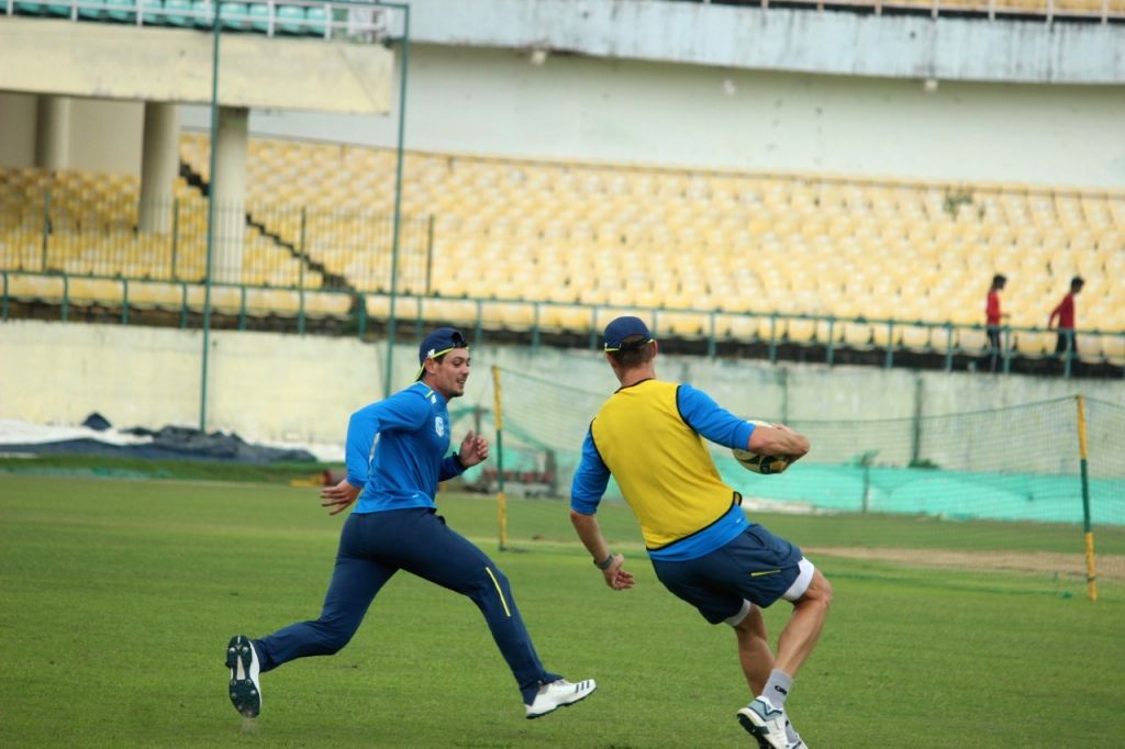 South African cricketer Quinton de Kock during a practice session ahead of their first T20I match against India at Himachal Pradesh Cricket Association Stadium in Dharamshala on Sep 12, ...
