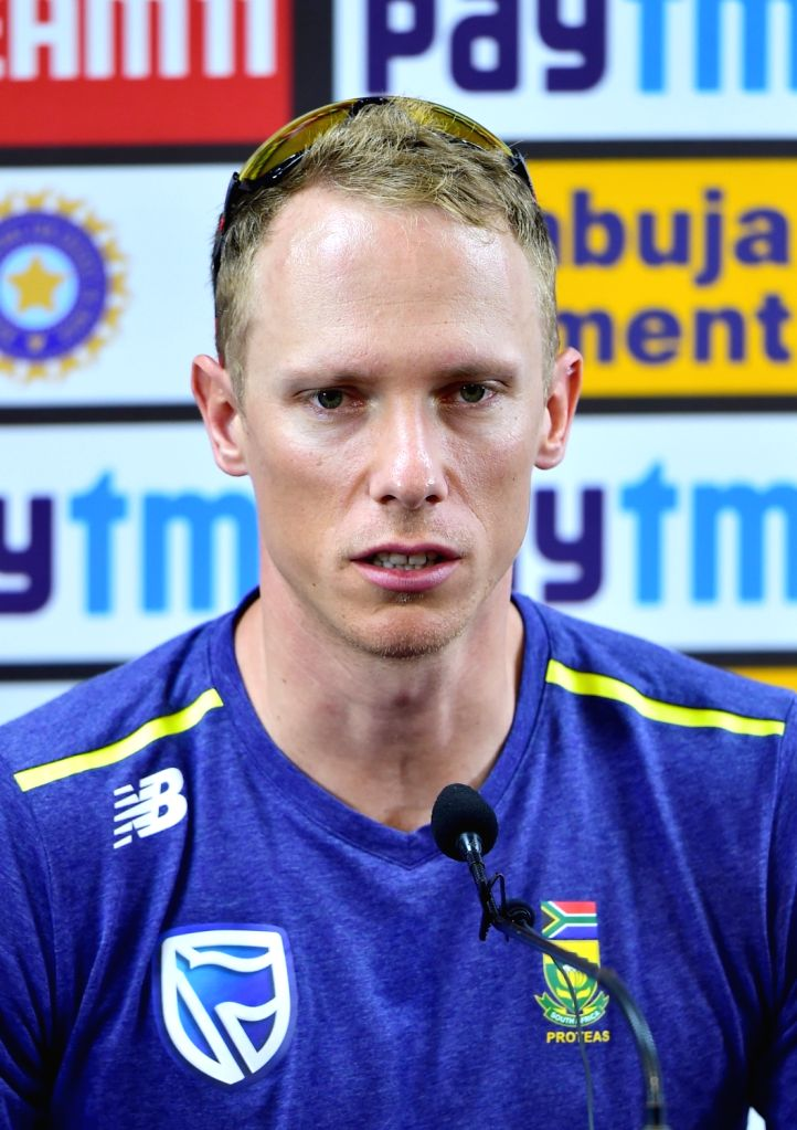 South African cricketer Rassie van der Dussen addresses a press conference ahead of the final T20I match against India, at the M. Chinnaswamy Stadium in Bengaluru on Sep 21, 2019.