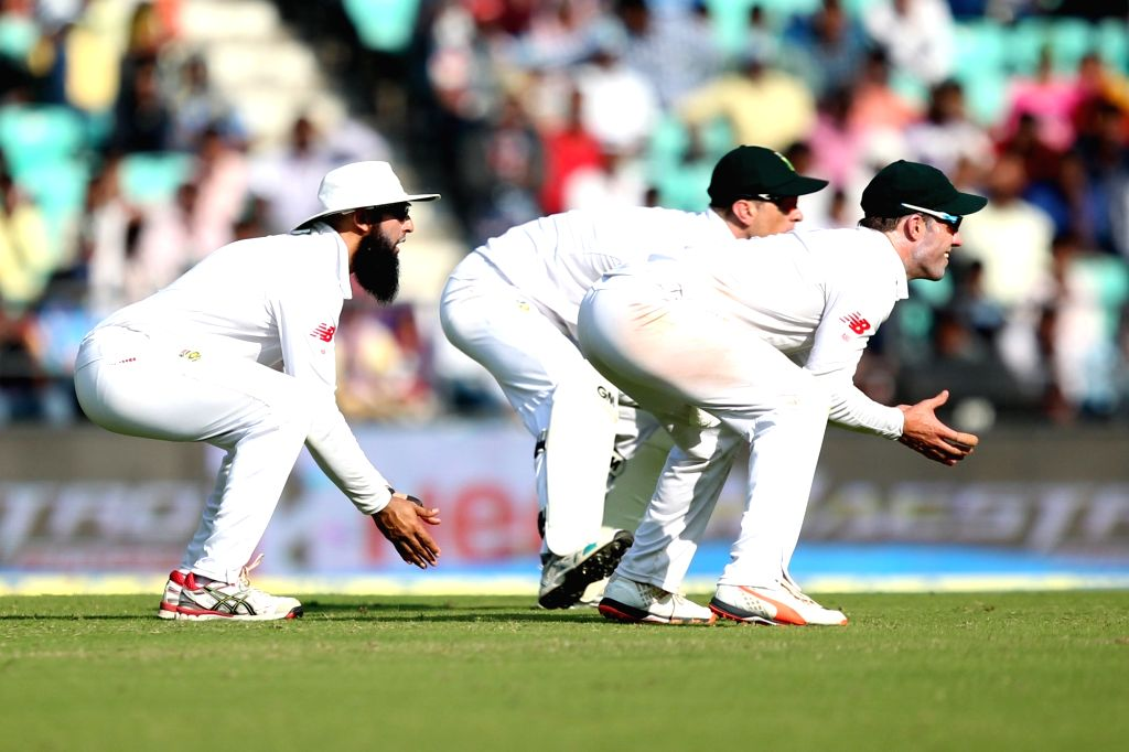 South African cricketers Dane Vilas, AB de Villiers and Hashim Amla during the Day-1 of the third test match between India and South Africa at Vidarbha Cricket Association Stadium in Nagpur  ...
