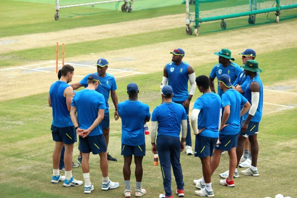 South African cricketers during a practice session ahead of their first T20I match against India at Himachal Pradesh Cricket Association Stadium in Dharamshala on Sep 12, 2019.