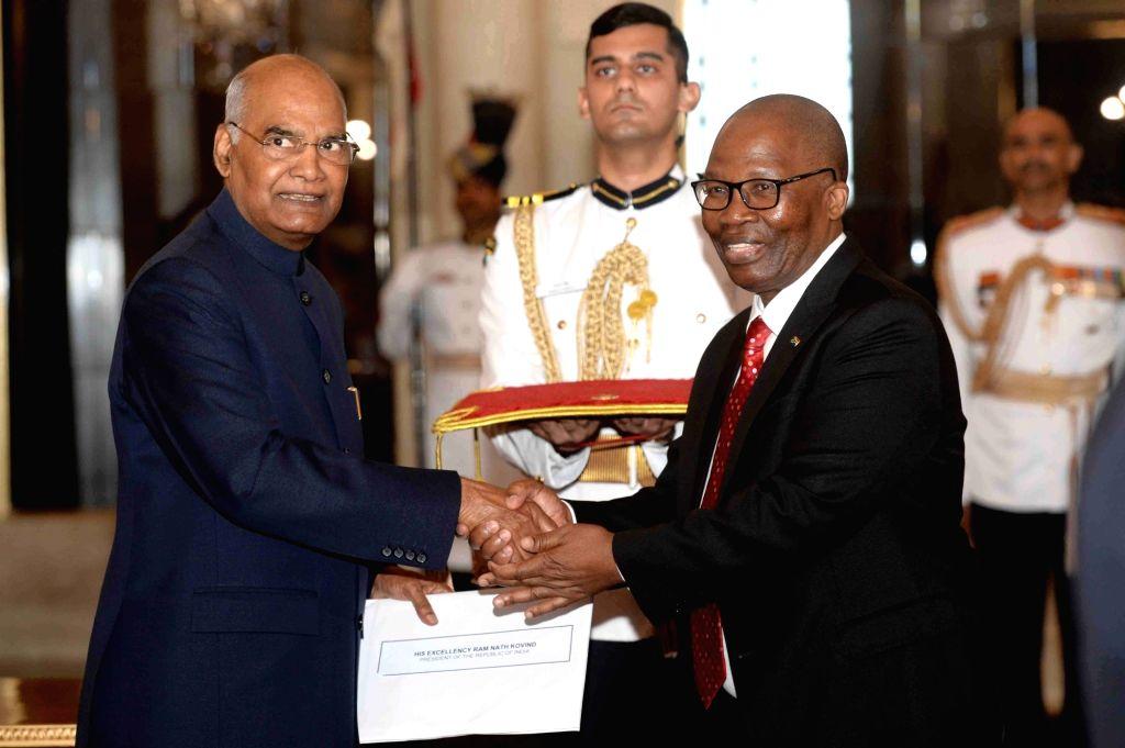 South African High Commissioner Designate H.E. Joel Sibusiso Ndebele presents his credentials to President Ram Nath Kovind at Rashtrapati Bhavan in New Delhi on Aug 28, 2019. - Nath Kovind