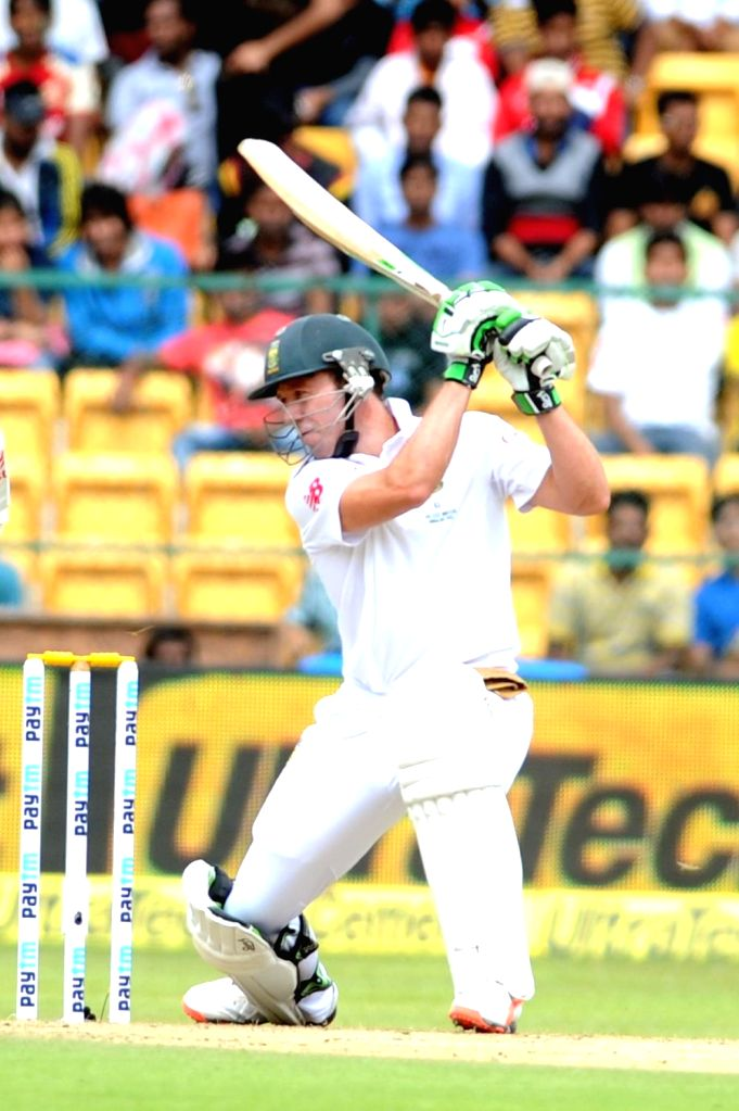 South African player AB de Villiers in action during the first day of the second test match between India and South Africa at M Chinnaswamy Stadium in Bengaluru, on Nov 14, 2015.