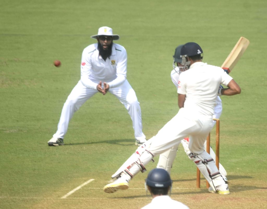 South African players appeal for a leg before wicket during a match between Indian Board President`s XI and South African at Brabourne Stadium in Mumbai on Oct 30, 2015.