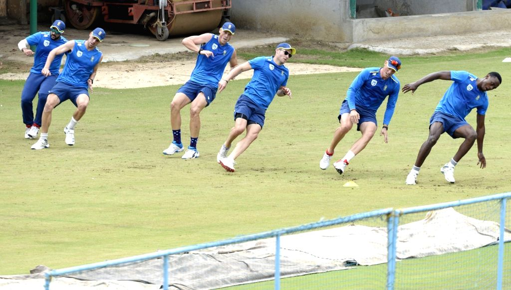 South African players during a practice session ahead of the 3rd T20 match against India at Chinnaswamy Stadium, in Bengaluru on Sep 20, 2019.