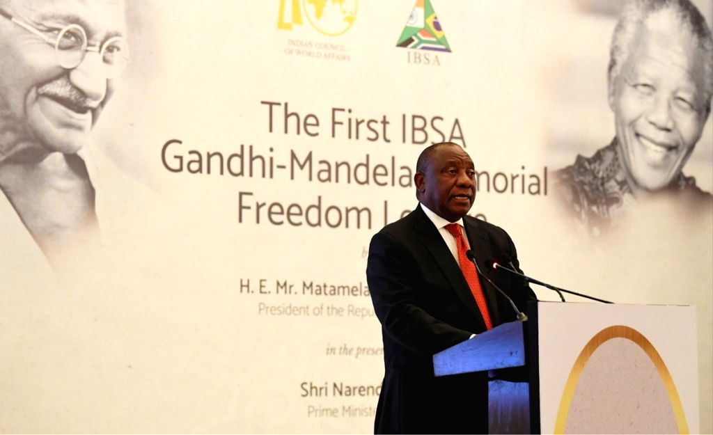"""South African President Matamela Cyril Ramaphosa addresses the """"First IBSA Gandhi Mandela Memorial Freedom Lecture"""" organised by the Indian Council of World Affairs (ICWA) in New ..."""