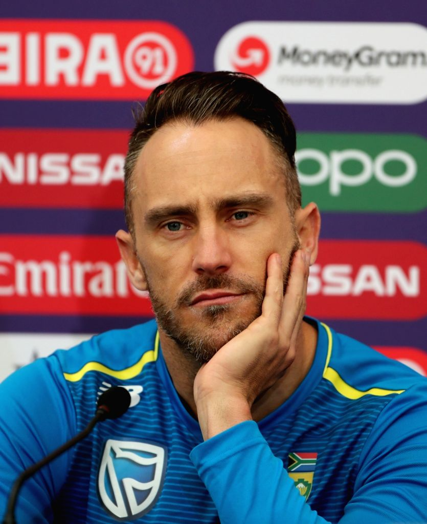 South African skipper Faf du Plessis at a press conference ahead of his team's 2019 ICC Cricket World Cup match against India, at the Rose Bowl Cricket Ground in Hampshire, England on June ...
