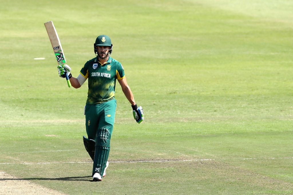 South African skipper Faf du Plessis celebrates his half century during the 1st ODI match between India and South Africa at Kingsmead Cricket Ground in Durban, South Africa on Feb 1, 2018.