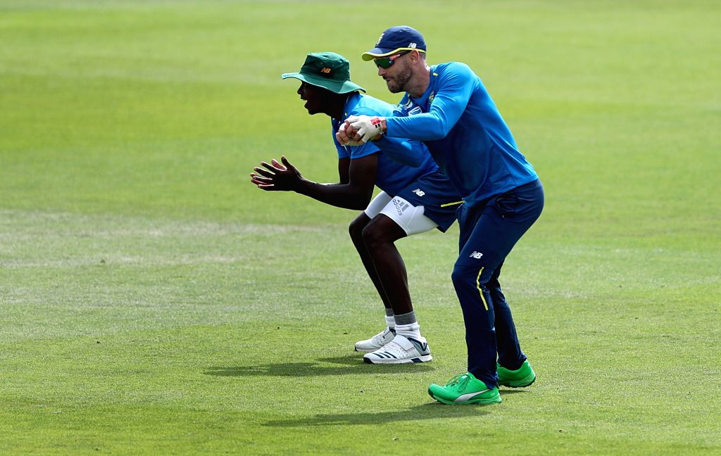 South African skipper Faf du Plessis during a practice session ahead of their 2019 ICC Cricket World Cup match against India, at the Rose Bowl Cricket Ground in Hampshire, England on June 4, ...
