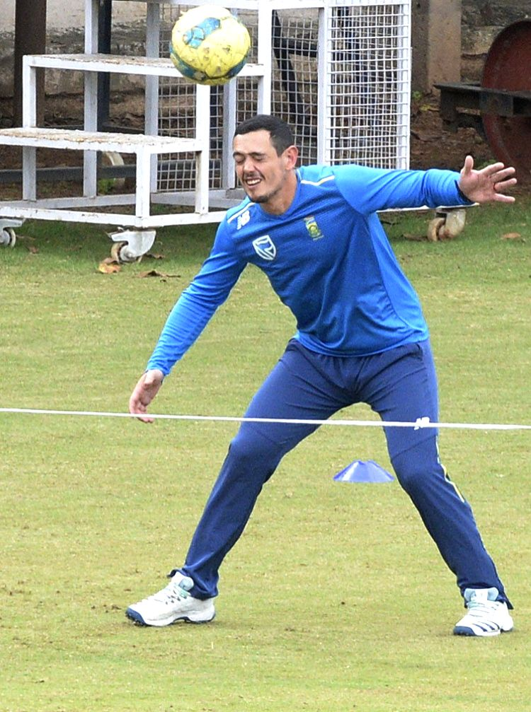 South African T20 captain Quinton de Kock during a practice session ahead of the 3rd T20 match against India at Chinnaswamy Stadium, in Bengaluru on Sep 20, 2019. - Quinton