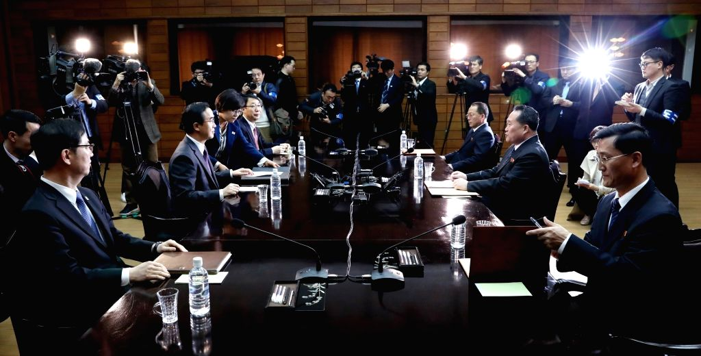 South and North Korean officials start talks at the truce village of Panmunjom on March 29, 2018, in an inter-Korean high-level contact to arrange details for a South-North Korea summit ...